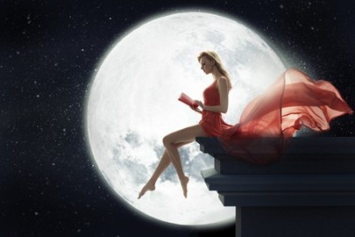 27274938 - cute lady over full moon background